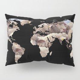 World Map Silhouette - Sheep Herd Pillow Sham