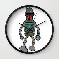 bender Wall Clocks featuring Bender Fett by Andy Whittingham