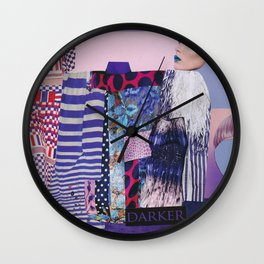 purple modern collage with pink and red Wall Clock