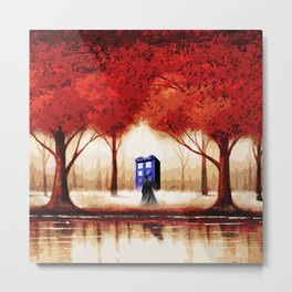 Tardis Cloud - Red Metal Print