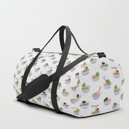 Send Noods - Ramen Noodles On Grey and White Duffle Bag
