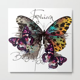 Fashion art print with colorful tropical butterly Metal Print