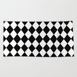 HARLEQUIN BLACK AND WHITE PATTERN #2 Beach Towel