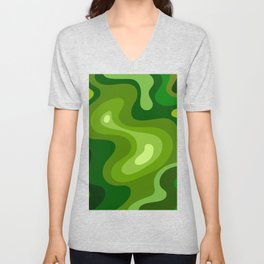Multi Color Green Liquid Abstract Design Unisex V-Neck