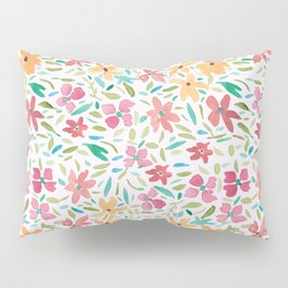 Clementine and Coral Watercolor Floral Light Pillow Sham
