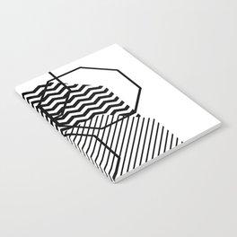 Geometric - Hexagon, Black Mixed Pattern Notebook