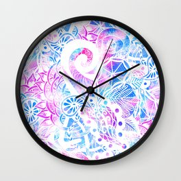 Purple Blue Teal White Hand Drawn Flowers Doodle Wall Clock