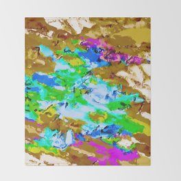 psychedelic splash painting abstract texture in brown green blue pink Throw Blanket