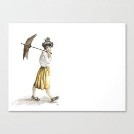 Girl with an umbrella Canvas Print