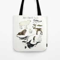 arctic monkeys Tote Bags featuring Arctic & Antarctic Animals by Amy Hamilton