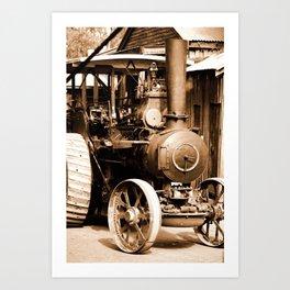 English Steam Engine Sepia Art Print