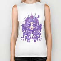 pastel goth Biker Tanks featuring Pastel Goth Princess by Miss Jediflip