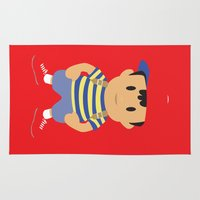 earthbound Area & Throw Rugs featuring Ness - Earthbound - Super Smash Brothers - Minimalist by Adrian Mentus
