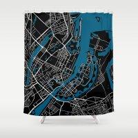 copenhagen Shower Curtains featuring Copenhagen city map black colour by MCartography