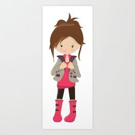 Fashion Girl, Brown Hair, Brown Leggings, Boots Art Print