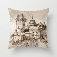 castle Throw Pillows featuring Castle by Bunny Noir