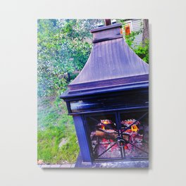 Backyard Fire Pit on a Late Spring Evening Metal Print