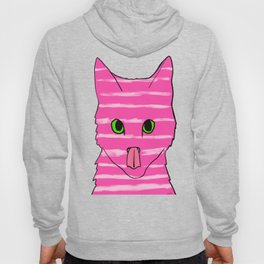 Neon Pink Striped Kitten Licking Her Nose With Aqua Background Hoody