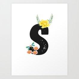 Letter S - Botanical English Alphabet, Name Initial Art Print
