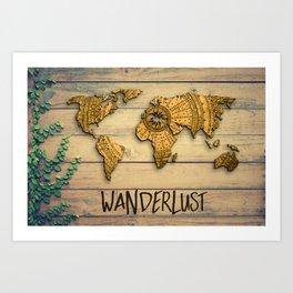 Wanderlust Vintage Map Art Print