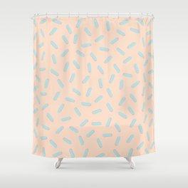 Memphis Bacteria Pattern Pastel Colors Peach Baby Blue Shower Curtain