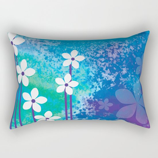 Watercolor Flowers Rectangular Pillow