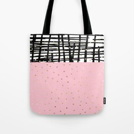 Modern geometrical black pink faux gold polka dots Tote Bag