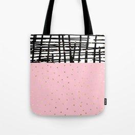 Modern geometrical black pink faux gold polka dots Tote Bag