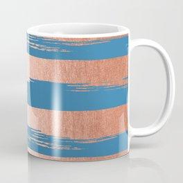 Trendy Stripes Sweet Peach Coral Pink + Saltwater Taffy Teal Coffee Mug