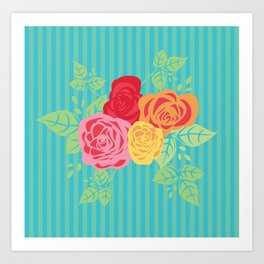 Rose Stripe Art Print