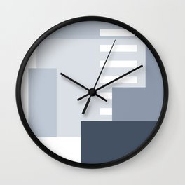 Carson Abstract Geometric Print in Blue Wall Clock