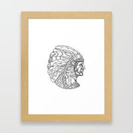 American Plains Indian with War Bonnet Doodle Framed Art Print