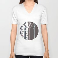 birch V-neck T-shirts featuring birch trees by liva cabule