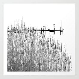 landscape nature sea black and white Art Print