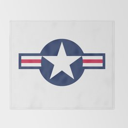 US Airforce style roundel star - High Quality image Throw Blanket