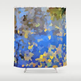 Gold dust on a mountain pond Shower Curtain