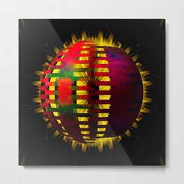 Red Layered Star in Golden Flames Metal Print