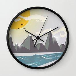 Grey mountains of joy Wall Clock