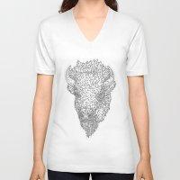 bison V-neck T-shirts featuring Bison by Takashi  Ariyoshi