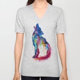Howling Wolf Watercolor Silhouette Unisex V-Neck