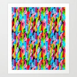 Abstract Brushstrokes - Black Art Print