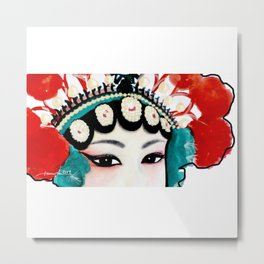 Chinese Opera Girl with Sexy Beautiful Eyes (water colour painting | colour pencils) Metal Print