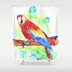 Watercolored Parrot Shower Curtain