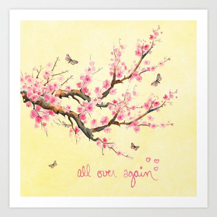 Sakura - All Over Again Art Print