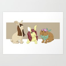 Hares In Wigs Art Print