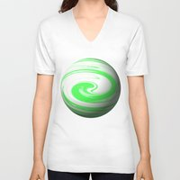 lime green V-neck T-shirts featuring Lime Green & Milky White Sphere by Moonshine Paradise