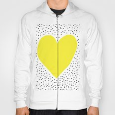 Yellow heart with grey dots around Hoody