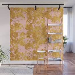 Luxury Marble and Gold Textures on Pastel Pink Wall Mural