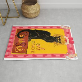 Le Chat Noir D'Amour Heart And Cherub Border Rug