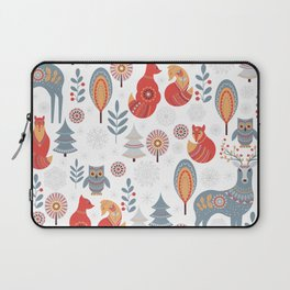 Seamless pattern with winter forest, deer, owl and Fox. The Scandinavian style. Laptop Sleeve
